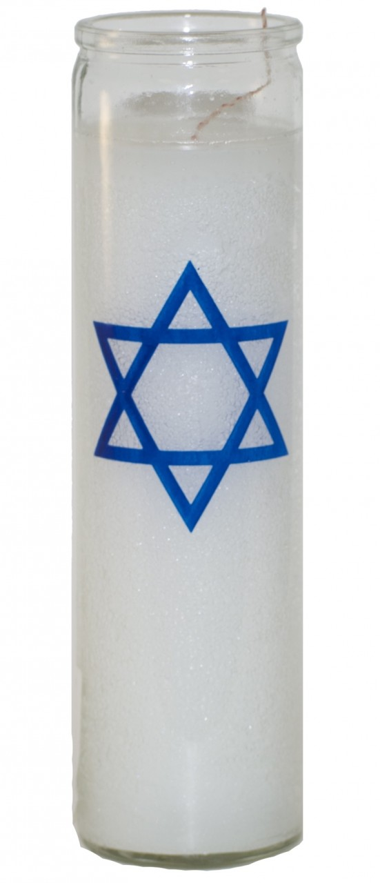 Star Of David 7 Day Candle White