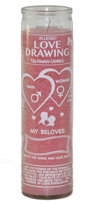 Love Drawing 7 Day Candle Pink