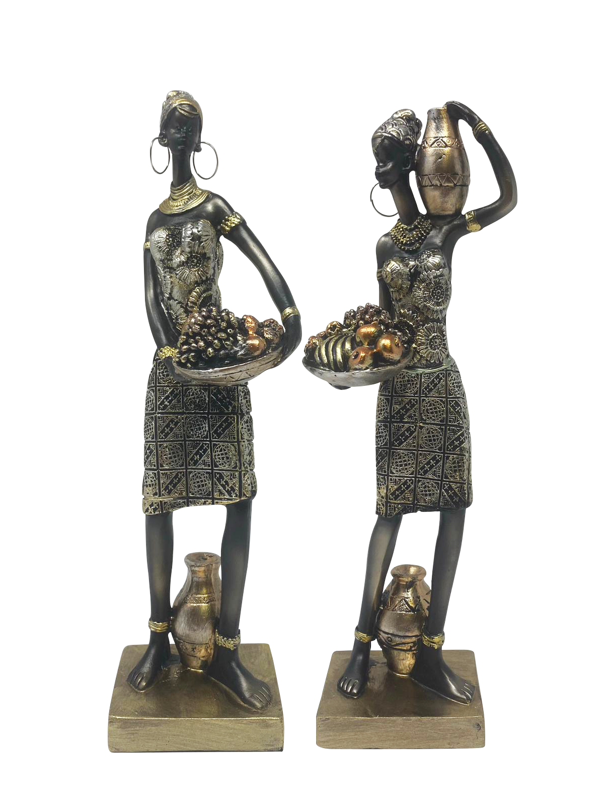 AFRICAN WOMEN STATUES STYLE 2 (SET OF 2)