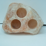 Himalayan Salt Candle Holder - Natural 3 Hole