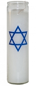 Star of David 7 Day Candle, White