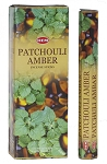 Patchouli-Amber Incense Sticks, Hex Pack - 6 Boxes of 20 Sticks (120 Sticks)