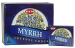 Myrrh Incense Cones, HEM, Box/12