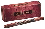 Amber Sandal Incense Sticks, Sq. Pk - 25 Boxes of 8 Sticks (200 Sticks)