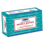 MONEY MATRIX Incense Sticks 15 Gram, Satya  (12 Boxes of 15 Sticks = 180 Sticks)
