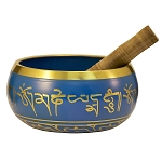Blue Tibetan Singing Bowl, Machined, 4