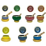 Chakra Set of 7 Tibetan Singing Bowls, Various Sizes, Machined