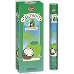 Coconut Incense Sticks, Hex Pack - 6 Boxes of 20 Sticks (120 Sticks)