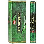 Eucalyptus Incense Sticks, Hex Pack - 6 Boxes of 20 Sticks (120 Sticks)