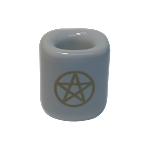 Chime Candle Holder - White With Gold Pentacle, Each
