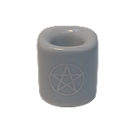 Chime Candle Holder - White With Silver Pentacle, Each