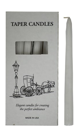 "White Tapers 10"", Box of 12"
