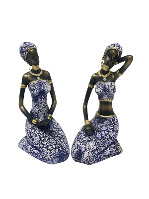 AFRICAN WOMEN STATUES STYLE 4 (SET OF 2)
