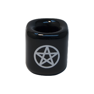 Chime Candle Holder - Black With Silver Pentacle, Each