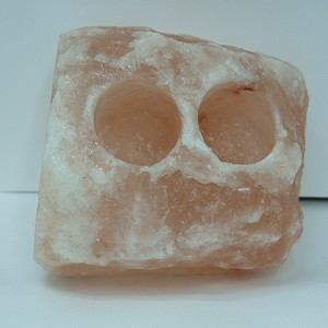 Himalayan Salt Candle Holder - Natural 2 Hole