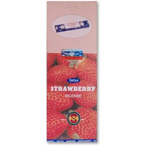 Strawberry Incense Sticks 10gm Square Pack, Satya, Box of 25