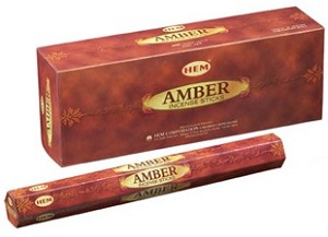 Amber Incense Sticks, Hex Pack - 6 Boxes of 20 Sticks (120 Sticks)