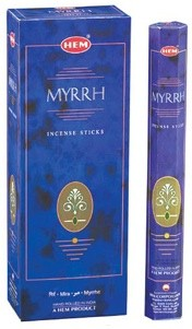 Myrrh Incense Sticks, Hex Pack - 6 Boxes of 20 Sticks (120 Sticks)