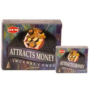 Attracts Money Incense Cones, HEM, Box/12