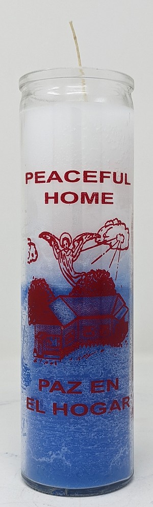 Peaceful Home 7 Day Candle, White/Blue