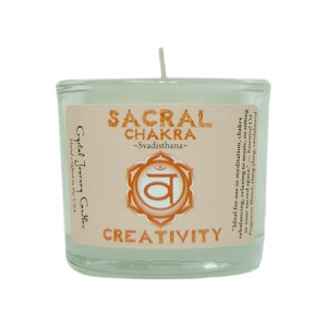 Sacral Chakra Glass Votive, Each
