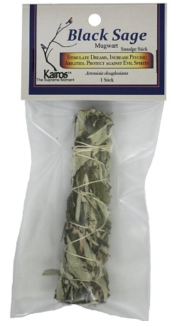 "Black Sage Smudge Stick - 3-4"" Long, Packaged, Each"