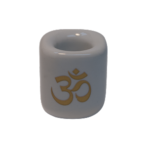 Chime Candle Holder - White With Gold Om, Each