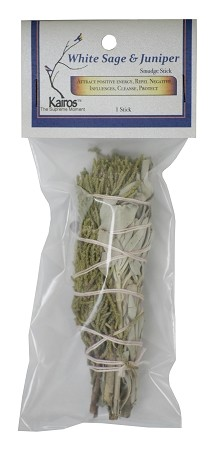 "White Sage & Juniper Smudge Stick - 4"" Long, Packaged, Each"
