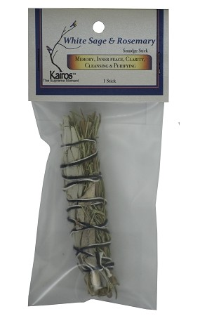 "White Sage & Rosemary Smudge Stick - 4"" Long, Packaged, Each"