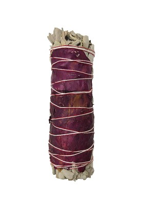 "White Sage & Red Rose Petals Smudge Stick - 3-4"" Long, Each"