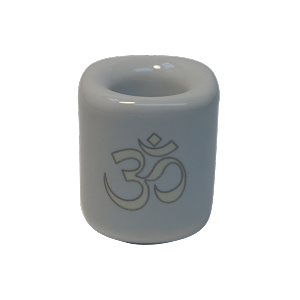 Chime Candle Holder - White With Silver Om, Each